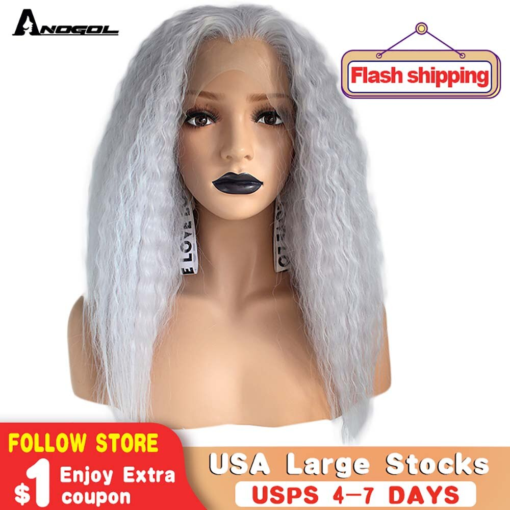 [해외]/Anogol High Temperature Fiber Deep Peruca Cabelo Medium Water Wave Hair Wigs Purple Synthetic Lace Front Wig For Women Costume