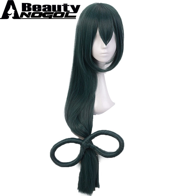 [해외]ANOGOL BEAUTY Asui Tsuyu Costume Cosplay Wig  My Hero Boku no Hero Academia Long Straight Dark Green Synthetic Wig For Halloween/ANOGOL BEAUTY Asu
