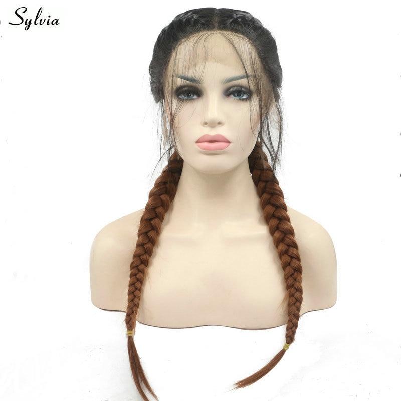 [해외]/Sylvia 2x Twist Braids Wig Black Ombre Brown 2 Tone Synthetic Lace Front Wigs Double Braids Heat Resistant Fiber Women Hair 24\