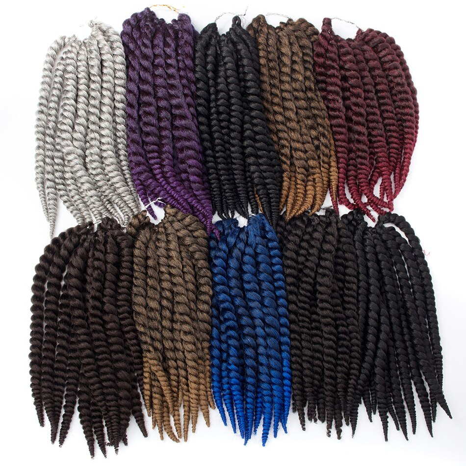 [해외]QP hair 2X Havana Twist 12 Roots Crochet Braids 14 18 22 inch Synthetic Hair Extensions 8 Pure Colors For Women/QP hair 2X Havana Twist 12 Roots C