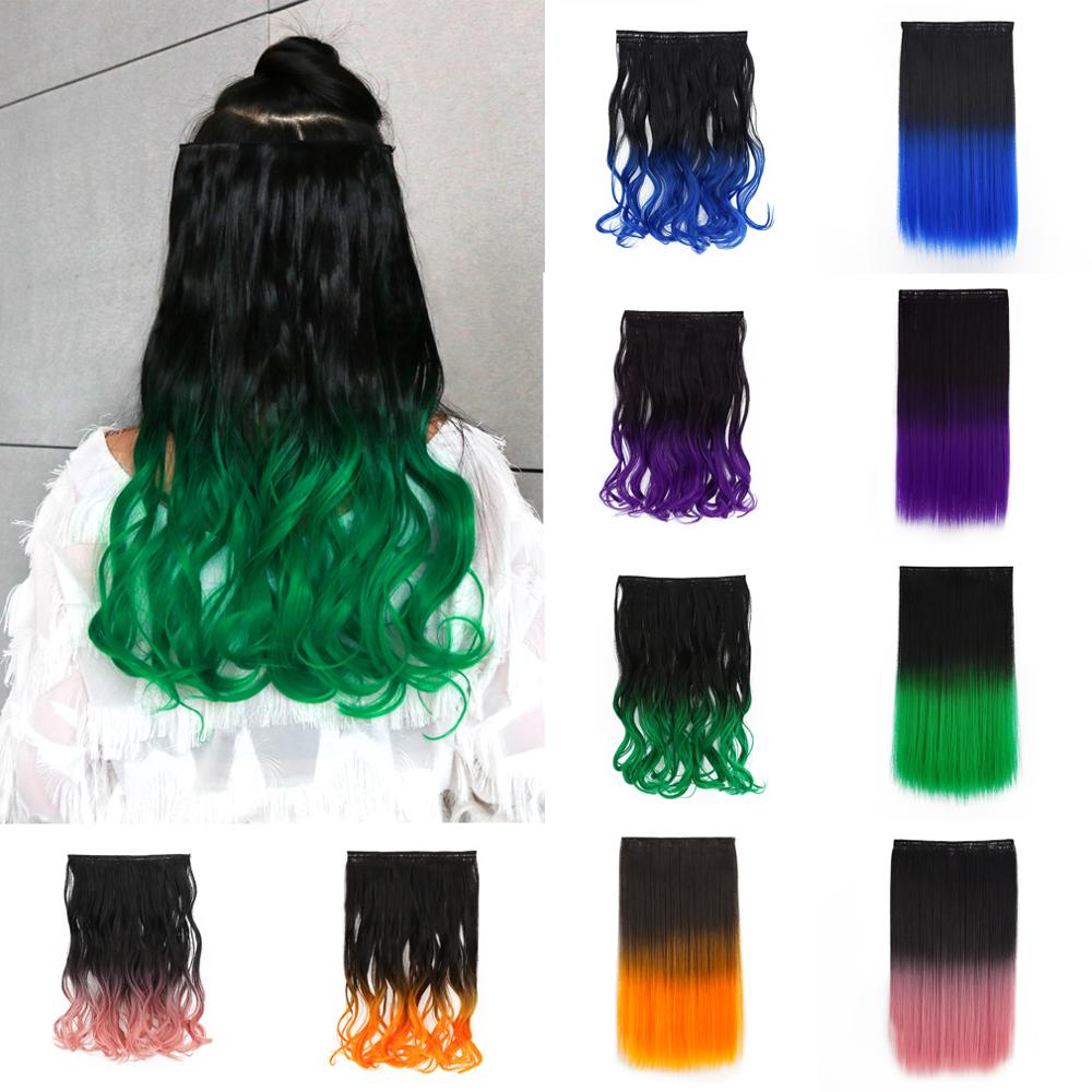 [해외]18`` Wavy 5 Clips in Hair Extensions Curly Hairpieces Clip In Extensions One Piece Kanekalon Synthetic Hair Pieces 6 Colors/18`` Wavy 5 Clips in H
