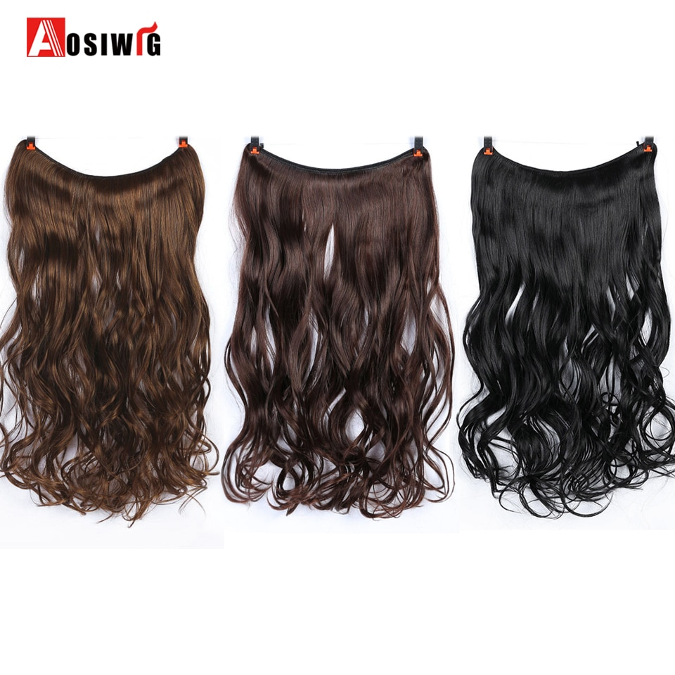 [해외]22 inches Women Fish Line Hair Extensions Heat Resistant Synthetic Invisible Wire No Clips Long Curly Hairpiece AOSIWIG/22 inches Women Fish Line
