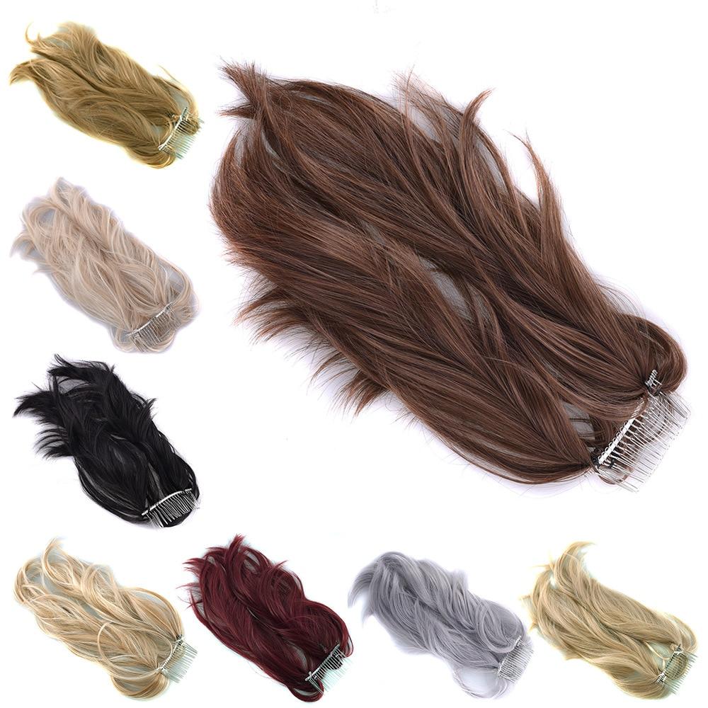 Gres 자연 웨이브 합성 포니 테일 금속 빗 고온 섬유 금발/블랙 30cm 말꼬리 여성 포니 테일