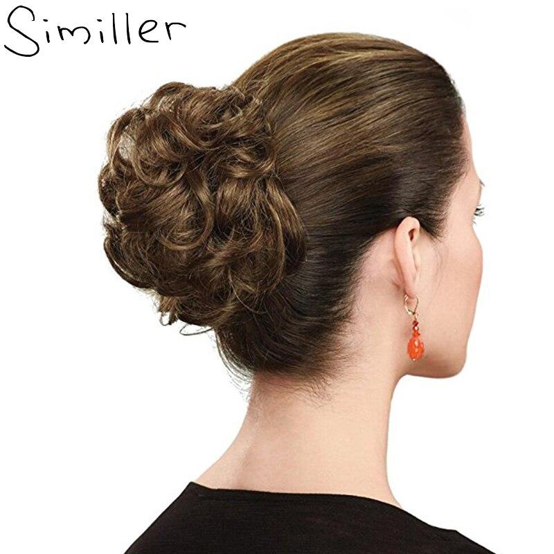 Similler 합성 곱슬 chignon 고무 밴드 블랙 골드 여성 클립 hairpiece 롤빵 drawstring 결혼식 36 색상