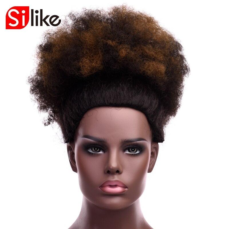 Silike 합성 짧은 곱슬 머리 롤빵 chignon 고온 클립 흑인 여성을위한 머리카락에 afro bun chignon 8 inch 12 inch