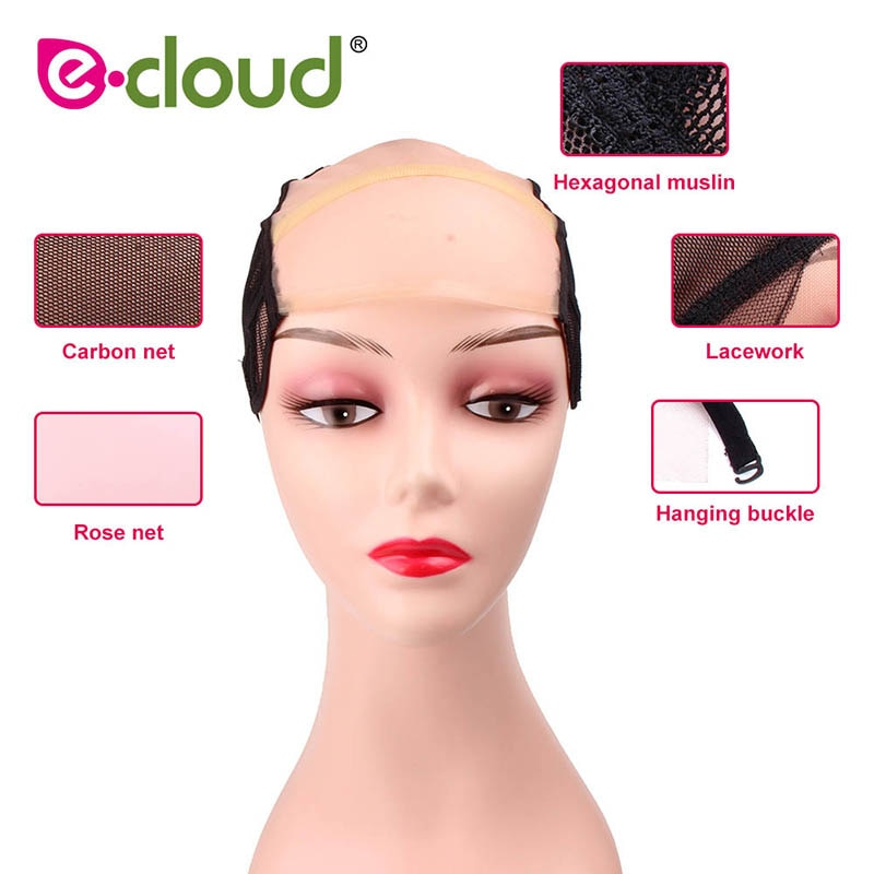 [해외]/Gluess Silk Swiss Lace Net Ear To Ear Stretch Wig CapsAdjustable Straps Wig Caps For Making Wigs Invisible Caps For Women