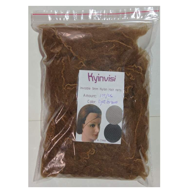 [해외]/wholesale 500pcs 20inch hairnet 5mm nylon hair nets invisible disposable hair net five colors mix black,dark brown,brown,blonde