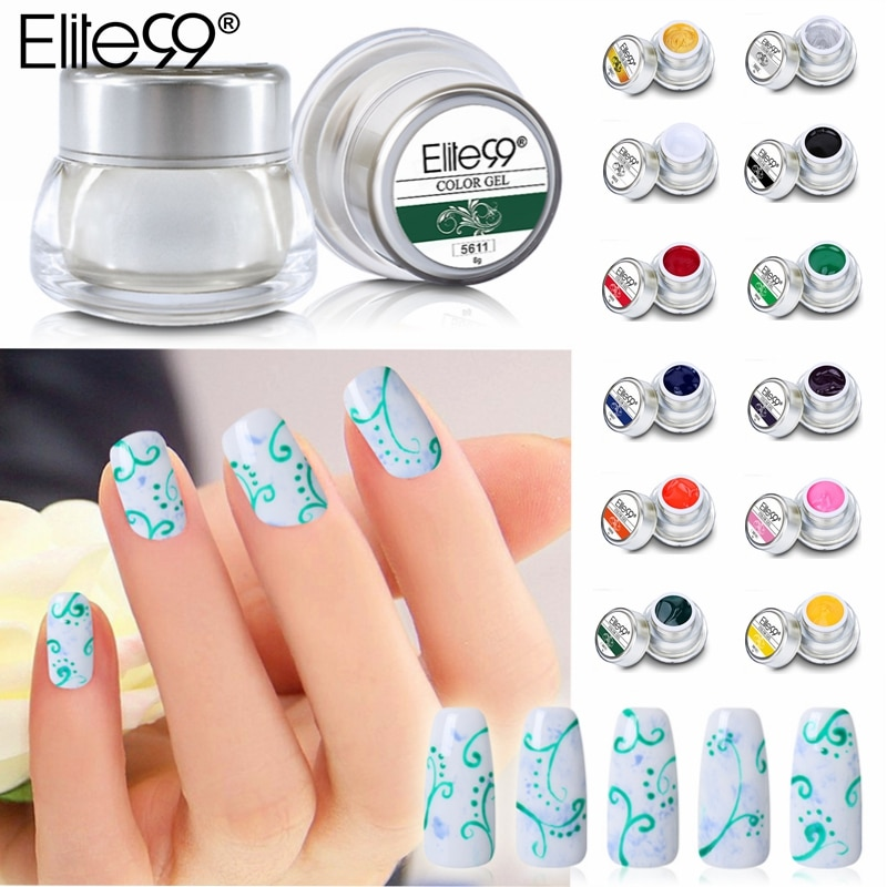 [해외]/Elite99 Pure Painting Gel 8g Nail Art Paint Draw Acrylic Glitter Color UV LED Soak Off Gel Nail Gel Polish 12 Colors Gel Varnish