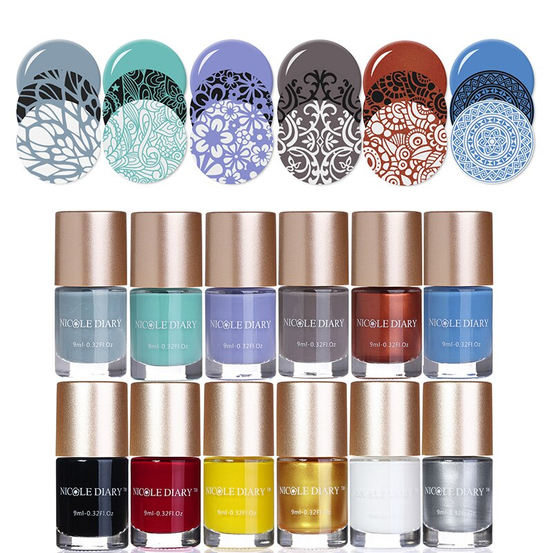 [해외]NICOLE DIARY Stamping Polish 21 Colors Stamp Plate Printing Polish Manicure Tips Color Nail Varnish Lacquer/NICOLE DIARY Stamping Polish 21 Colors