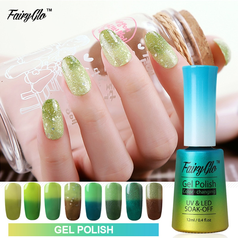 [해외]/FairyGlo 12ml Nail Gel Thermo Color Changing Stamping Paint Nail Polish Enamel Vernis a Ongle Nagellak Gelpolish Lucky Ink Nails