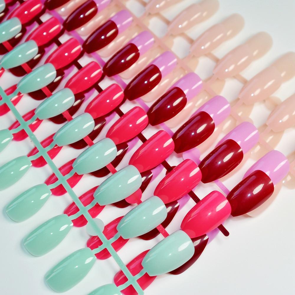 [해외]/6 sets Candy Color Coffin Nails Art Tips False Nail Nude Purple Green Pink Stiletto Flat Shape Full Cover Fake Nail Fuax Ongles