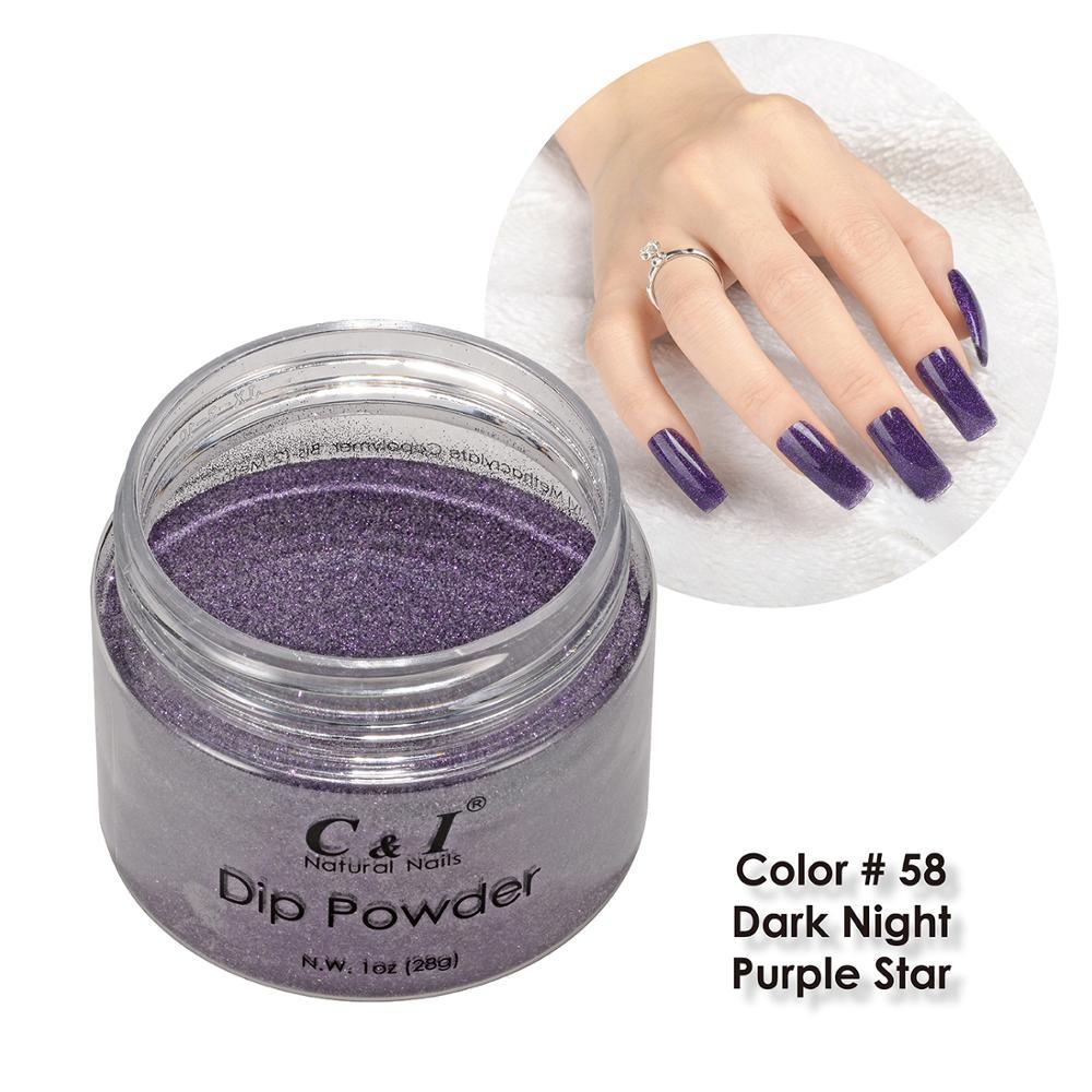 [해외]28g 담금질 분말 - 색상 NO.58 다크 나이트 퍼플 스타 - 퍼플 컬러 시스템/28g Dipping Powder -Color NO.58 Dark Night Purple Star- Purple Color System