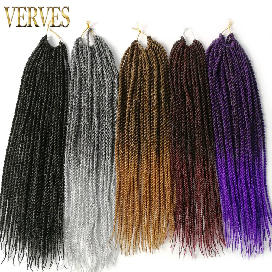 Verves ombre crochet braids 1 pack, 30 strands/pack 18 inch, small 세네갈 트위스트 헤어 합성 브레이드 헤어 익스텐션/Verves ombre crochet braids 1 pack, 30 st